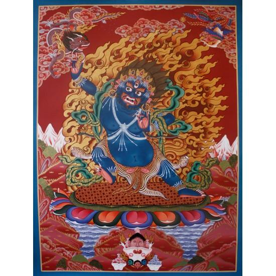 """Vajrapani Tibetan Thangka Painting 31"""" W x 43"""" H"""