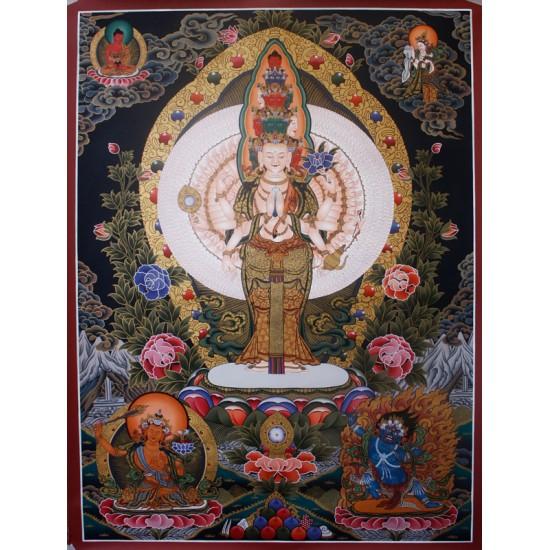 """Lokeshwor Tibetan Thangka Painting 31"""" W x 41"""" H"""