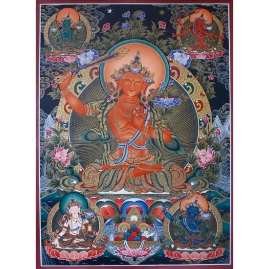 """Manjushree Tibetan Thangka Painting 30"""" W x 42"""" H"""