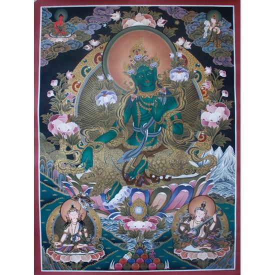 """Green Tara Tibetan Thangka Painting 25"""" W x 34"""" H"""