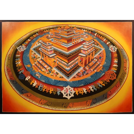 3D Kaalchakra Mandala Gold Tibetan Thangka Painting 110cm W x 75cm H