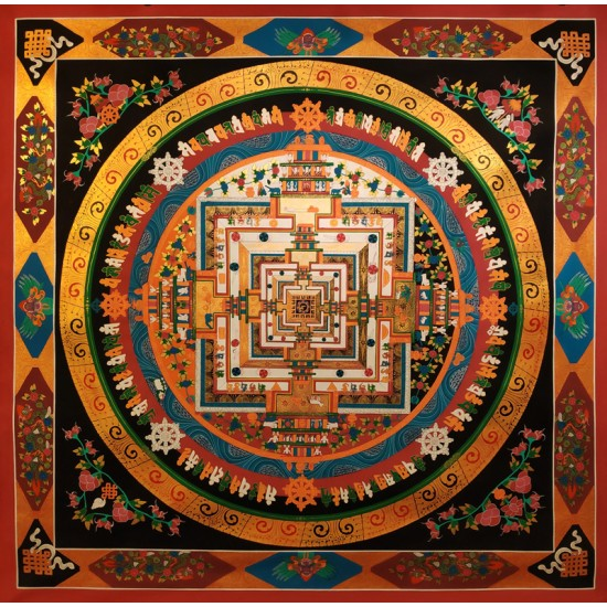"""Kaalchakra Mandala Tibetan Thangka Painting 57"""" W x 57"""" H"""