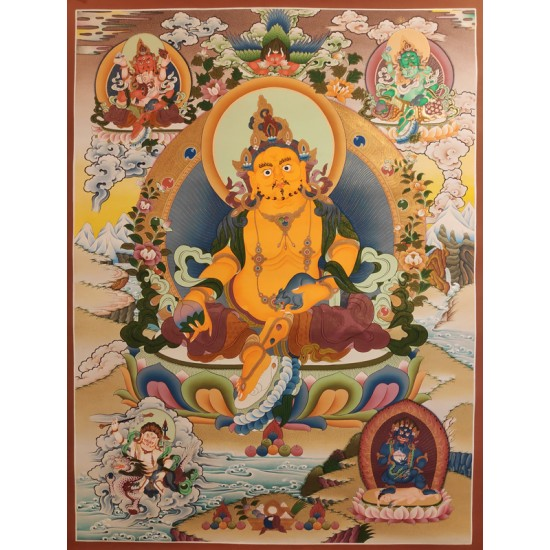 5 Jambala Gold Tibetan Thangka Painting 56 cm W x 76 cm H