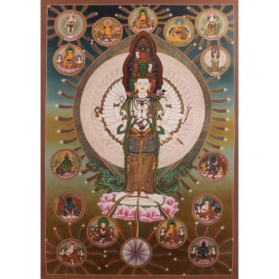 Avalokitesvara (Lokeshwor) Tibetan Thangka Painting 50 cm W x  73 cm H