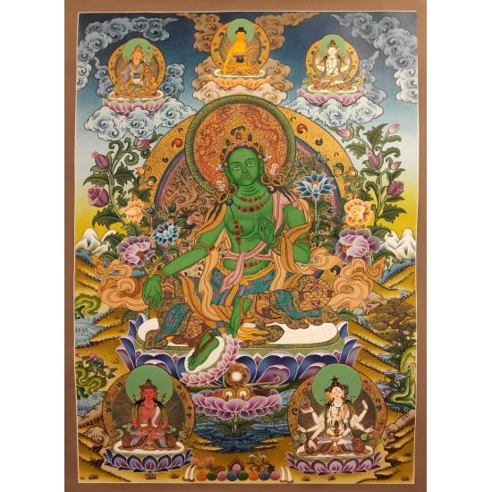 Green Tara Tibetan Thangka Painting 50 cm W x 72 cm H