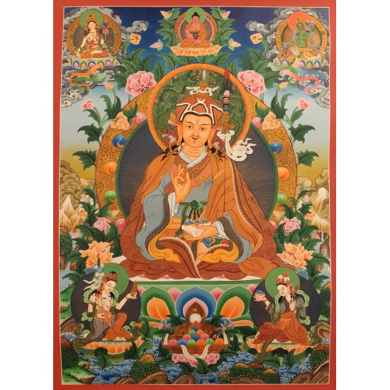 Guru Padmasambhava Tibetan Thangka Painting 52 cm W x 72 cm H