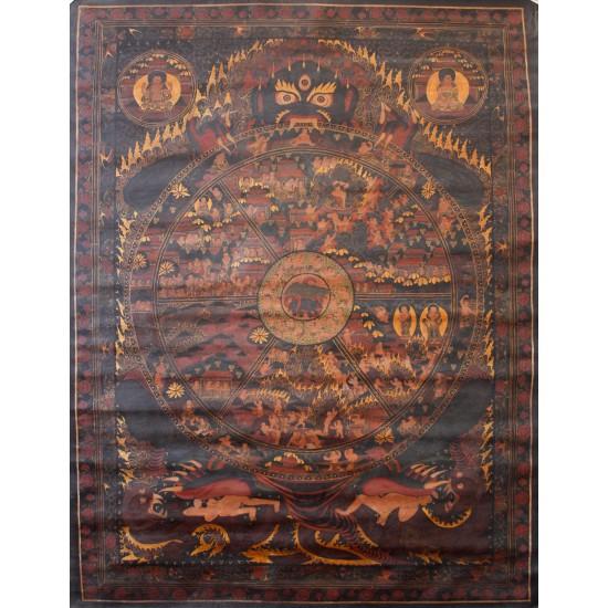 """Wheel of Life Tibetan Thangka Painting 29"""" W x 39"""" H"""