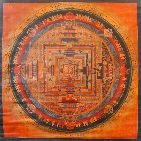 "Oiled Kaalchakra Tibetan Thangka Painting 33"" W x 33"" H"