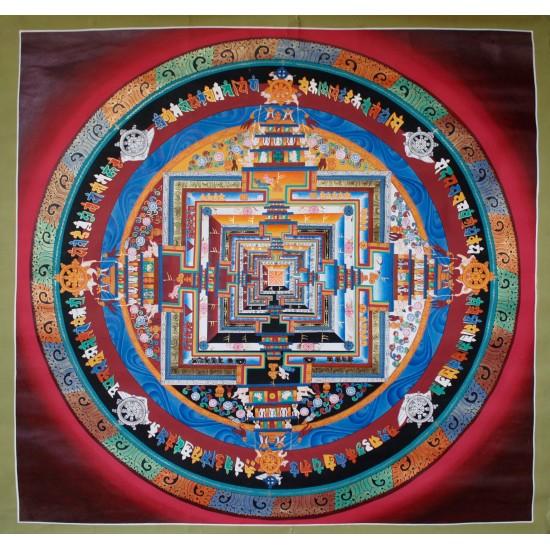 """Kaalchakra Mandala Tibetan Thangka Painting 40.5"""" W x 40.5"""" H"""