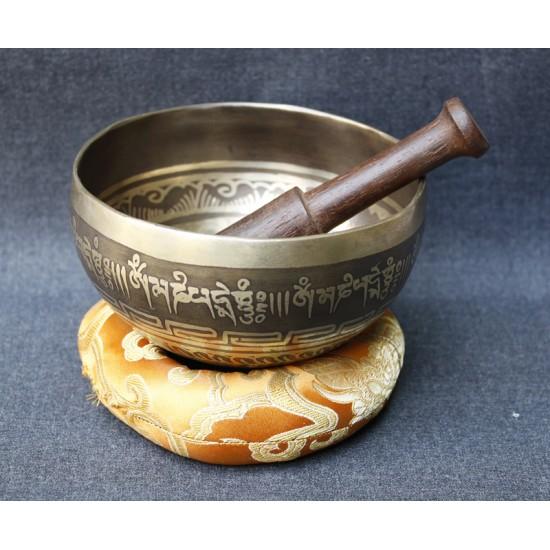 """Tibetan Mantra Etching Singing Bowl 4.5"""" W x 2"""" H"""