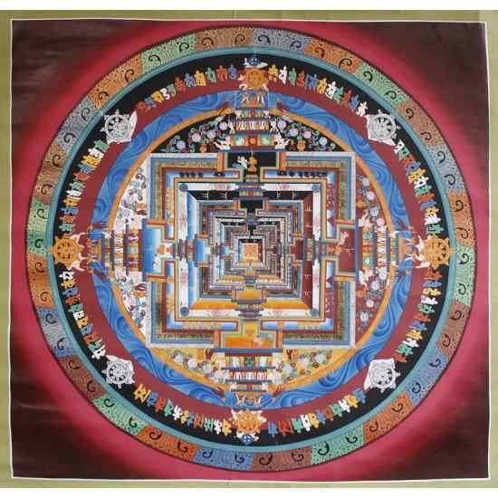 """Red Kaalchakra Tibetan Thangka Painting 41"""" W x 41"""" H"""