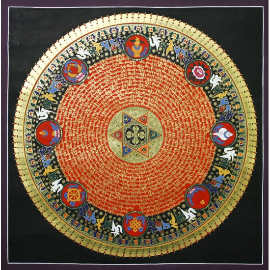 "7 Auspicious Sign Mantra Mandala Tibetan Thangka Painting 31.5"" W x 31.5"" H"