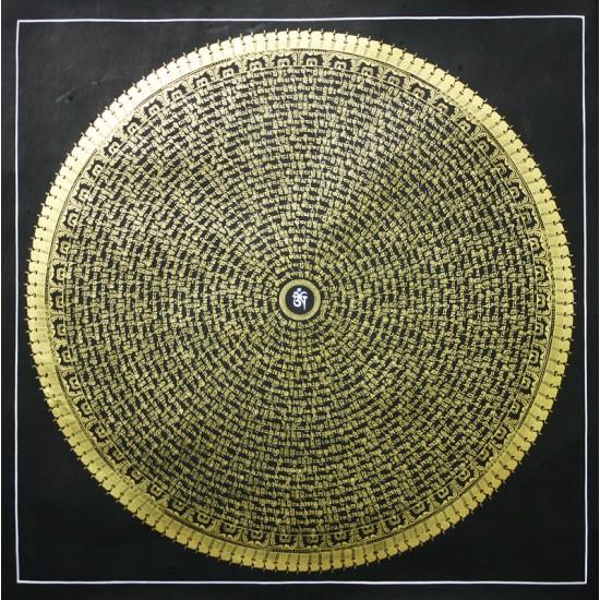 """Mantra Mandala Tibetan Thangka Painting 31"""" W x 31"""" H"""