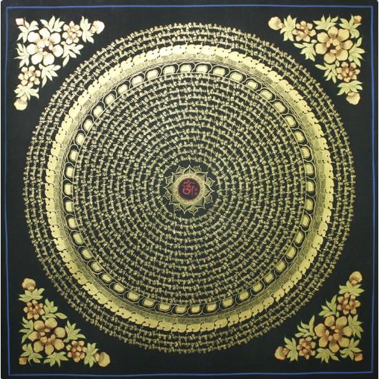 """Mantra Mandala Tibetan Thangka Painting 29"""" W x 29"""" H"""