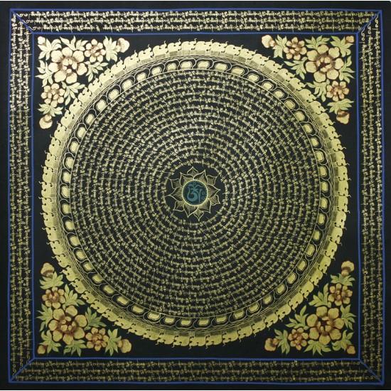 """Mantra Mandala Tibetan Thangka Painting 29.5"""" W x 29.5"""" H"""