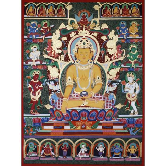 "Ratnasambhava Newari Thangka Painting 38.5"" W x 50.5"" H"