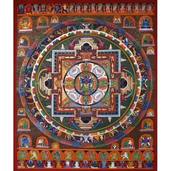 """Newari Mandala Tibetan Thangka Painting 41"""" W x 49.5"""" H"""