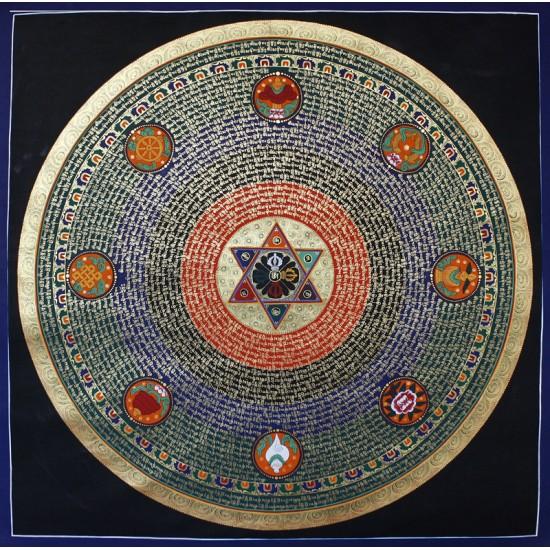"""Mantra Mandala Tibetan Thangka Painting 44"""" W x 44"""" H"""