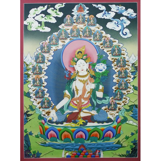 "21 White Tara Tibetan Thangka Painting 26"" W x 35"" H"