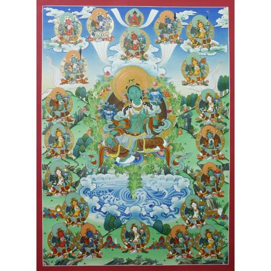 """21 Green Tara Tibetan Thangka Painting 23.5"""" W x 32.5"""" H"""