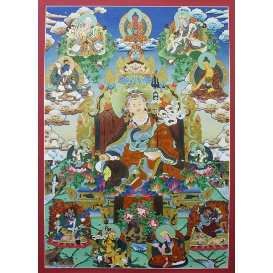 """Guru Padmasambhava Tibetan Thangka Painting 23.5"""" W x 33"""" H"""