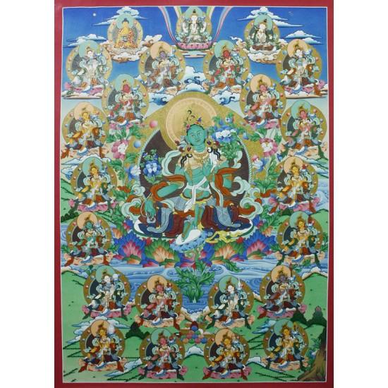 """21 Green Tara Tibetan Thangka Painting 24.5"""" W x 34"""" H"""