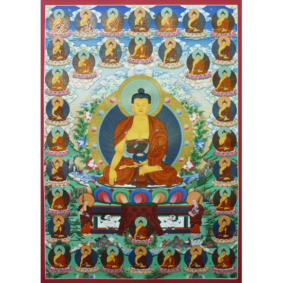 "21 Shakyamuni Buddha Tibetan Thangka Painting 23.5"" W x 33"" H"