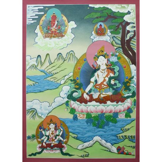 "White Tara Tibetan Thangka Painting 21.5"" W x 29.5"" H"