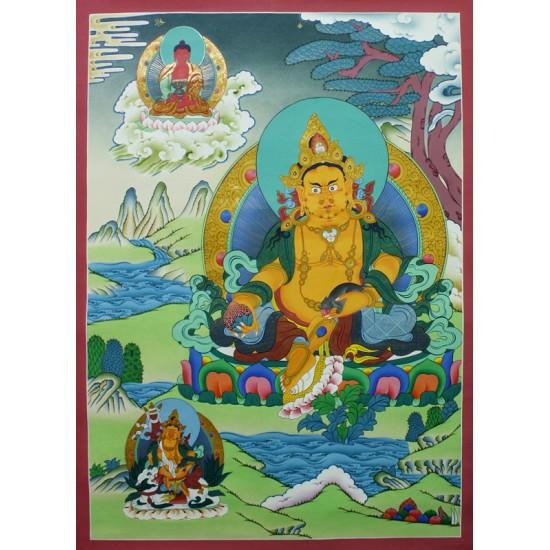 """Kuber (Jambhala) Tibetan Thangka Painting 21.5"""" W x 29.5"""" H"""