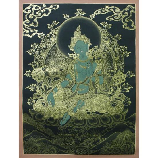 """Green Tara Tibetan Thangka Painting 20"""" W x 26"""" H"""