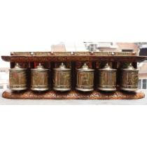 "6 Piece Spinning Tibetan Prayer Wheel 18"" W x 6"" H"