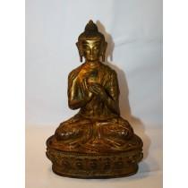 """Amoghasiddhi Antique Copper Statue 5.5"""" W x 8"""" H"""