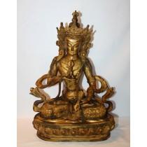 "Vajrasatwa Gold Antique Statue 8"" W x 13"" H"