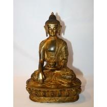 """Shakyamuni Buddha Antique Copper Statue 5.5"""" W x 8"""" H"""