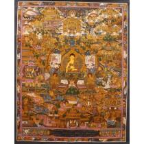 "Buddha Life Tibetan Thangka Painting 20"" W x 26"" H"