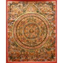 """Mandala Tibetan Thangka Painting 20"""" W x 26"""" H"""