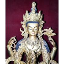 """Lokeshwor Tibetan Thangka Painting 26.5"""" W x 38"""" H"""